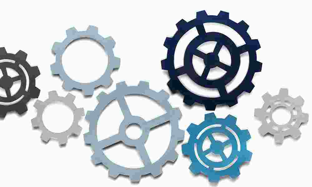 Blue cartoon gears on a white background