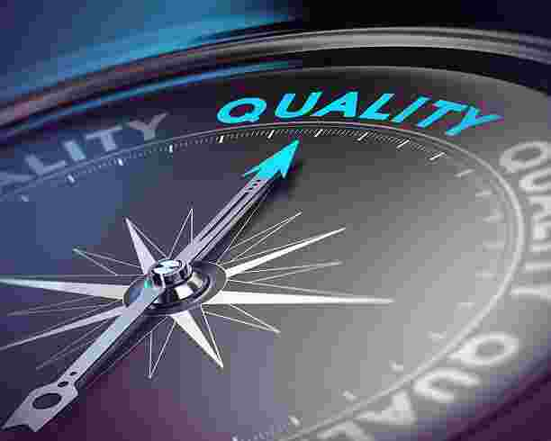 A compass pointing in the direction of quality