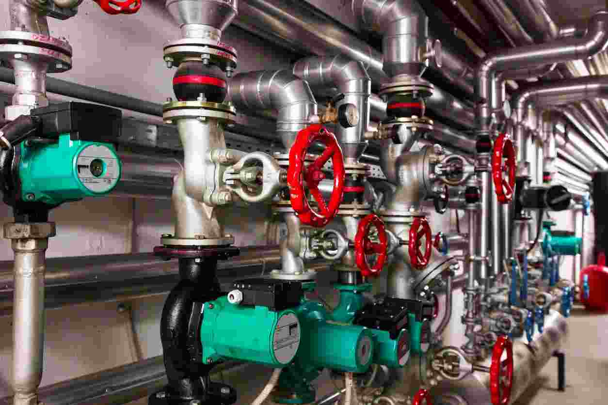 office building heating system control equipment and valves